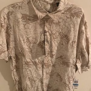 Other - Brown tropical print button up